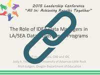 The Role of IDEA Data Managers in LA/SEA Data Governance Programs