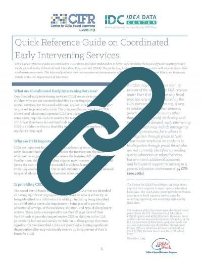 Quick Reference Guide on Coordinated Early Intervening Services