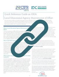 Quick Reference Guide on IDEA Local Educational Agency Maintenance of Effort