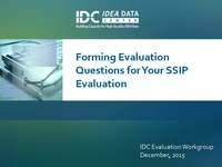 Forming Evaluation Questions for Your SSIP Evaluation