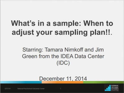 What's in a sample: When to adjust your sampling plan!!