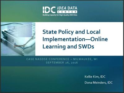State Policy and Local Implementation—Online Learning and SWDs
