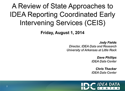 A Review of State Approaches to IDEA Reporting Coordinated Early Intervening Service (CEIS)