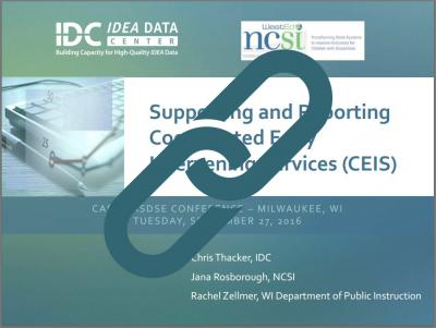 Supporting and Reporting CEIS