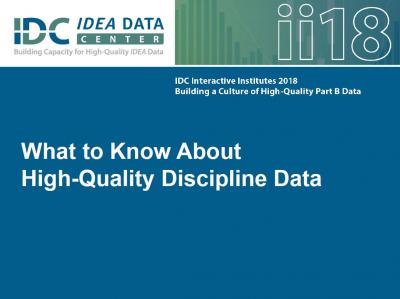 What to Know About  High-Quality Discipline Data